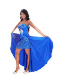 African American Woman In Blue Dress. Stock Photo