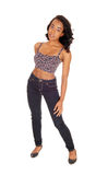 African american woman in jeans. Royalty Free Stock Photo