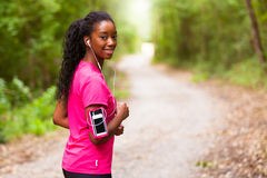 African american woman jogger portrait  - Fitness, people and h Royalty Free Stock Photo