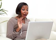 African-American woman with laptop. Royalty Free Stock Photos