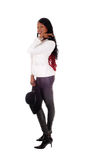 African American woman in leather tights. Royalty Free Stock Photo