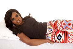 African American woman leggings lay side look Royalty Free Stock Photo