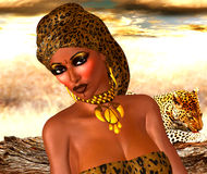 African American Woman in Leopard Print Fashion with Beautiful Cosmetics and Head Scarf. Modern Vogue Pose. A gold abstract background with glowing lights Royalty Free Stock Image
