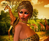 African American Woman in Leopard Print Fashion with Beautiful Cosmetics and Head Scarf. Modern Vogue Pose. A gold abstract background with glowing lights Stock Photo