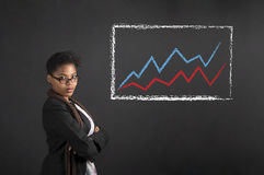African American woman with line graph with arms folded on chalk black board background Royalty Free Stock Photo
