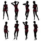 African American Woman Lingerie Silhouette Stock Image