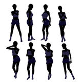 African American Woman Lingerie Silhouette Royalty Free Stock Photo
