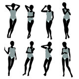African American Woman Lingerie Silhouette Stock Photo