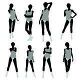 African American Woman Lingerie Silhouette Stock Images