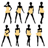 African American Woman Lingerie Silhouette Royalty Free Stock Images