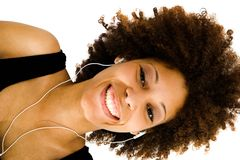 African American woman listening music Stock Images