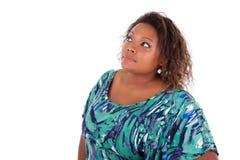 African American woman looking up - Black people. African American woman looking up, over white background - Black people Royalty Free Stock Image