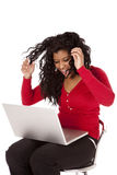 African American woman mad computer Royalty Free Stock Photo