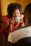 African-American woman and male. Distraught African-American woman and male have a discussion Royalty Free Stock Image