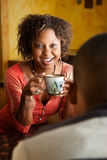 African-American woman and male. Happy African-American woman and male at home Stock Images