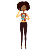 African american woman with mobile phone vector illustration iso royalty free stock photo