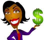 African American Woman Money. A clip art illustration of an african american  woman holding a cash dollar sign in her hand. This covers a wide range of topics Royalty Free Stock Image