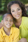 African American Woman Mother With Boy Son royalty free stock images