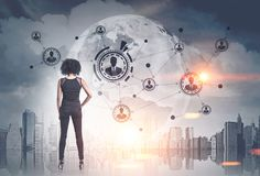 African American woman, network, cityscape stock photos