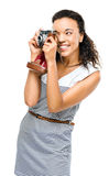 African american woman photograher vintage camera portrait isolated. African American woman photographer with vintage camera smiling royalty free stock photo