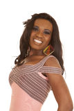 African American woman pink dress close smile Royalty Free Stock Photos