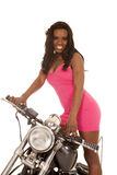 African American woman pink motorcycle stand close Royalty Free Stock Images