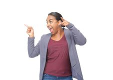 African american woman pointing fingers Stock Photography