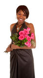African American Woman Posing with Roses stock image