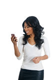 African American Woman reading message Royalty Free Stock Image
