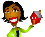 African American Woman Realtor. A clip art illustration of an african american woman holding a little red house in her hand. This covers a wide range of topics Royalty Free Stock Photo