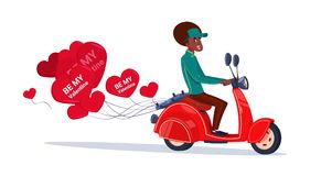African American Woman Riding Retro Motor Bike With Heart Shaped Air Balloons Happy Valentines Day Concept. Flat Vector Illustration Stock Photos