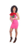 African American woman with roses. Stock Photos