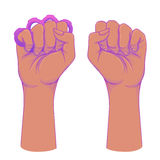African American Woman's hand with her fist raised up. Girl Powe. R. Feminism, anti-racism concept. Realistic style vector illustration in pink on white. Sticker Stock Photos