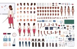 African American woman school teacher or teaching professor DIY or constructor kit. Bundle of female character body. Elements, poses, clothing isolated on white royalty free illustration