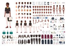 African American woman secretary, manager or office assistant DIY or animation kit. Set of female character body parts. And formal clothing isolated on white royalty free illustration