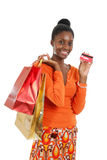 African american woman shopping. This is an image of a woman holding a shopping bag Royalty Free Stock Image