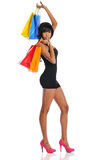 African American woman with shopping bags Royalty Free Stock Photos