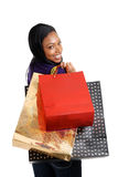 African american woman with shopping bags Royalty Free Stock Photography