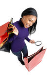 African american woman with shopping bags  Royalty Free Stock Images