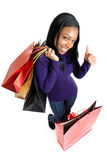 African american woman with shopping bags Stock Images