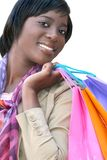 African American Woman with Shopping Bags Isolated royalty free stock images