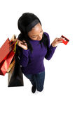 African american woman shopping with credit card Stock Photography