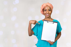African american woman showing clipboard Stock Image