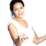African American woman shrugging her shoulders Stock Images