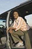 African American Woman Sitting In Car Stock Images