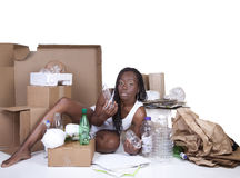 African American Woman Sitting Recycle Royalty Free Stock Images