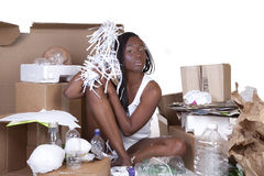 African American Woman Sitting Recycle Stock Image