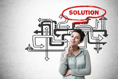 African American woman and solution search Stock Image