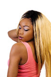 African American Woman Standing Blond Wig Back Royalty Free Stock Images