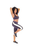 African American woman standing in exercise outfit. Royalty Free Stock Photo
